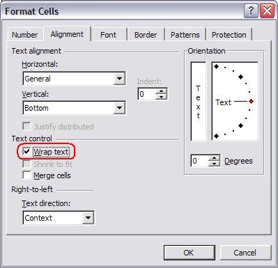Excel Format Cells Dialog | Alignment Tab