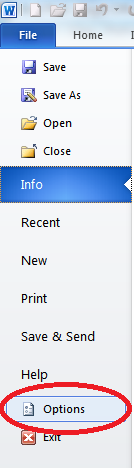 File tab in Microsoft Word 2010