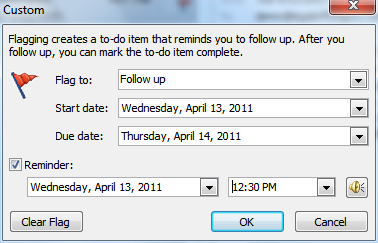 Custom reminder dialog box for Outlook email flags