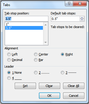 how to change the tab in word
