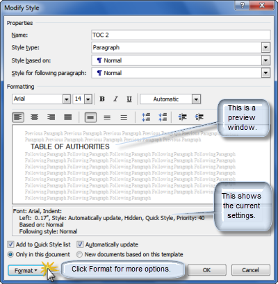 How to modify a Table of Contents in Microsoft Word Legal Office