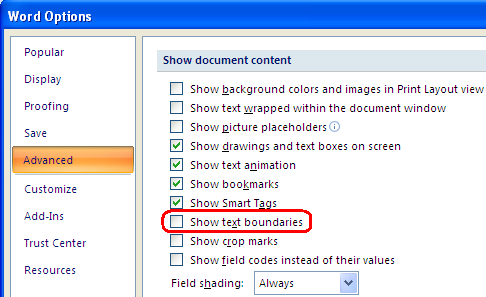 Text boundaries