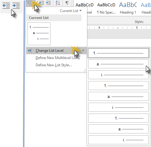 Increase Indent/Decrease Indent buttons (left) and Change List Level menu (right)