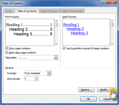 Table of Contents dialog box