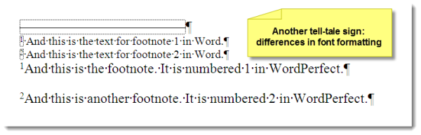 Word-difference-between-footnotes