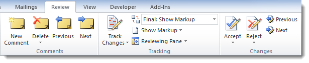 Word 2010 - Track Changes section of the Review tab