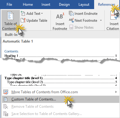 Insert Table of Contents in Word 2016