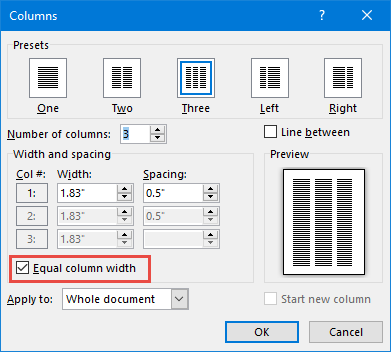 Using and formatting columns in Microsoft Word - Legal