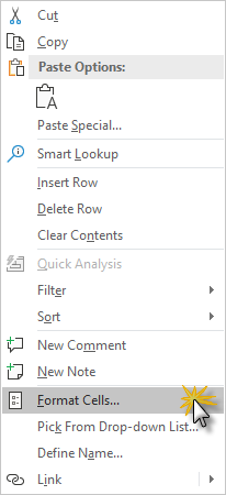 Excel format cells in contextual menu