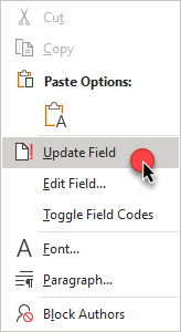 Right-click to update field